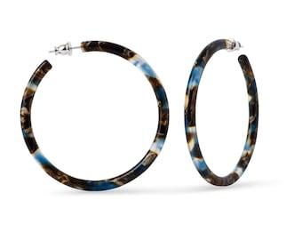 55mm Round Hoops in Driftwood   Blue Brown Ocean Resin Hoop Earrings 925 Sterling Silver Posts