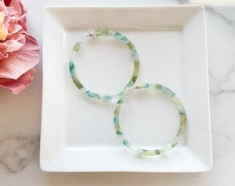 55mm Round Hoops in Dew Drop   Blue Green Gold Acetate Resin Statement Hoop Earrings 925 Sterling Silver Posts