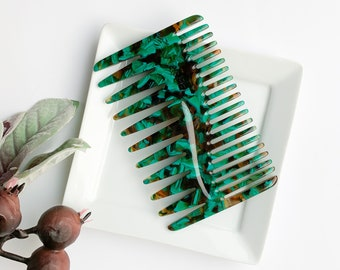 NEW Duet Comb | Tortoise Shell Hair Comb Pick Double Sided Hand Held Cellulose Acetate Resin