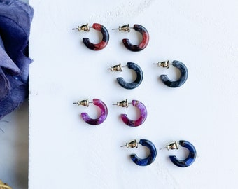 Huggie Hoops In The Canyon Collection   Cellulose Acetate Resin Gemstone Hoop Earrings 925 Sterling Silver Posts
