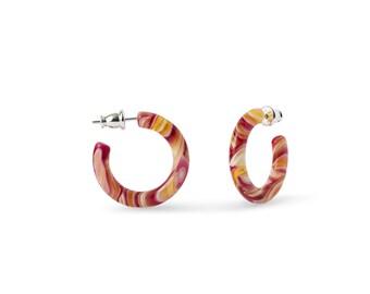 Ultra Mini Hoops in Pink Lemonade   Small Acetate Resin Hoop Earrings