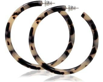 Round Hoops in Blonde Tortoise| Acetate Resin Tortoise Shell Statement Hoop Earrings Large S925 Silver Posts
