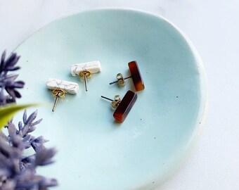 Marble Acetate Bar Studs Minimalist Earrings
