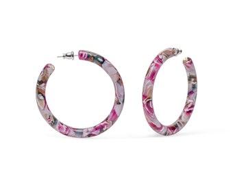 50mm Round Hoops in Water Lily   Pink Floral Acetate Resin Tortoise Shell Hoop Earrings S925 Posts