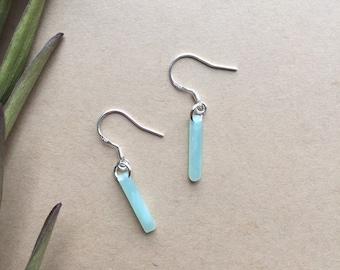 Jade Acetate Minimalist Sterling Silver Dangle Earrings