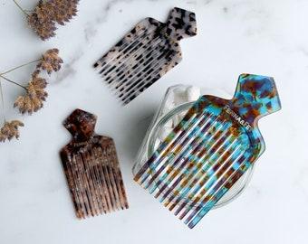 Diamond Pick Lift Beard Comb Men's Women's Hair Accessory Gift Cellulose Acetate Tortoise Shell Resin Hair Combs