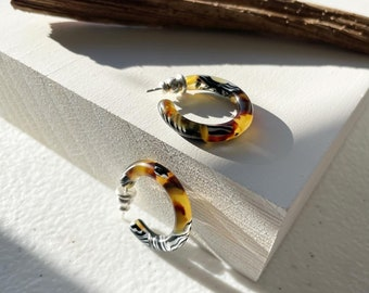 Ultra Mini Hoops in Safari and Petal  Mazzuccheli Italian Acetate With AG Sterling Silver Posts
