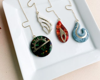 Fenna&Fei Element Threader Dangle Earrings | Earth Air Fire Water Italian Acetate Men's Women's Drop Earring 14k Gold Chain