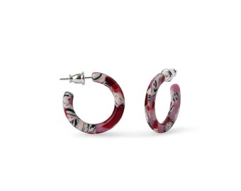 Ultra Mini Hoops in Cherry Blossom   Pink and Red Acetate Resin Hoop Earrings .999 Sterling Silver Posts