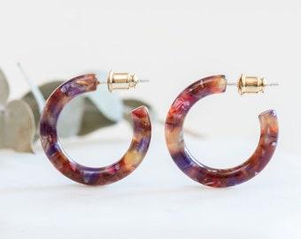 Ultra Mini Hoops in Rosehip | Acetate Resin Floral Hoop Earrings S925 Posts