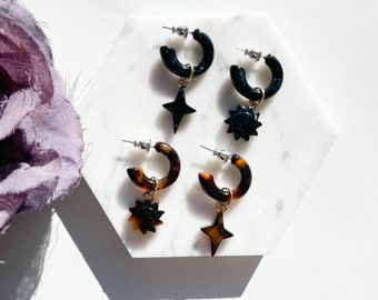 Sun and Star Dangle Hoops | Dark Tortoise Shell Statement Earrings Cellulose Acetate Men's Women's Mix and Match With Sterling Silver Posts