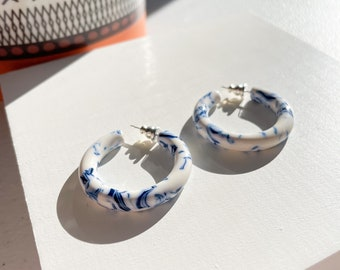 35 Round Hoops in Porcelain | Thick Chunky White and Blue Hoop Earrings Cellulose Acetate Elegant Statement Chic 925 Sterling Silver Posts