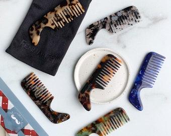 Men's Mustache Comb | Mini Tortoise Shell Acetate Beard Mustache Comb Gift