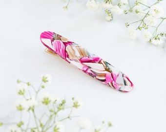 Oval Hair Clip in Water Lily | Acetate Resin Floral Alligator Hair Clip