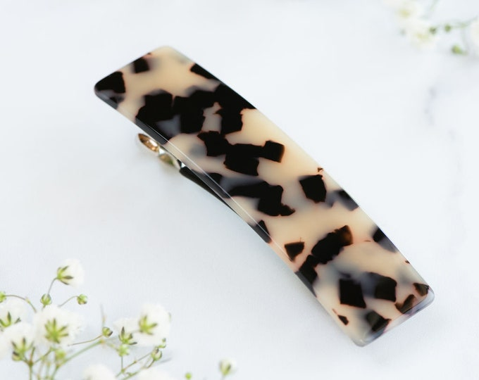 Featured listing image: Large Rectangle Double Clasp Non-Slip French Barrette | Acetate Resin Tortoise Shell Hair Clip