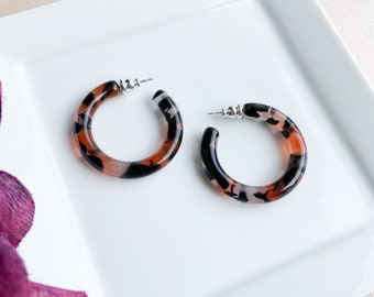 35mm Round Hoops in Koi | Black and Red Acetate Resin Tortoise Shell Thick Chunky Statement Hoop Earrings 925 Silver Posts