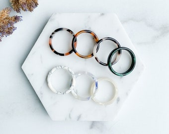 Flat Ring Collection | Tortoise Shell Acetate Resin Stacking Rings Minimalist