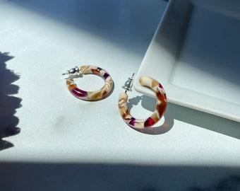 Ultra Mini Hoops in Autumn   Small Acetate Red Cream Purple Hoop Earrings 925 Silver Posts