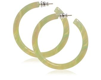 Round Hoops in Fairy Dust 35mm/50mm/65mm Sterling 925 Posts Light Green Acetate Resin Statement Hoop Earrings