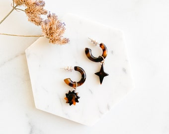 Sun and Star Dangle Hoops   Dark Tortoise Shell Statement Earrings Cellulose Acetate Men's Women's Mix and Match With Sterling Silver Posts