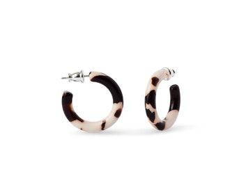 Ultra Mini Hoops in Mocha | Small Acetate Resin Tortoise Shell Hoop Earrings S925 Posts