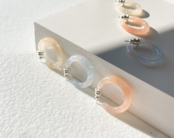Ultra Mini Hoops in Sky Lotus and Peach | Cellulose Acetate Mini Small Pearl Hoop Earrings With AG Sterling Silver Posts Minimalist Earrings