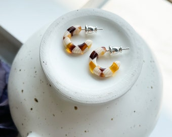 Huggie Hoops in Tetris   Tiny Small Orange and White Checkered Hoop Earrings 925 Sterling Silver Posts