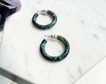 Ultra Mini Hoops in Green Marble | Green and Blue Swirl Hoop Earrings 925 Sterling Silver Posts