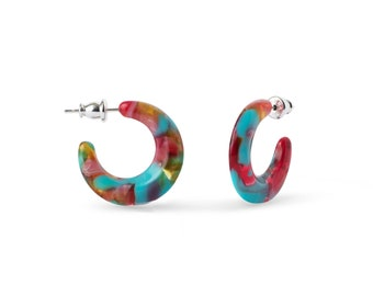 Mini Crescent Hoops in Tutti Frutti | Bright Tropical Teal Pink Floral Hoop Twist Moon Shaped Earrings 925 Sterling Silver Posts