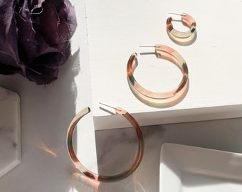 Jelly Hoops in Magic Hour | Italian Acetate Clear Translucent Statement Fairy Harvest Spooky Season Earrings S925 Posts