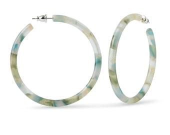 55mm Round Hoops in Dew Drop | Blue Green Gold Acetate Resin Statement Hoop Earrings 925 Sterling Silver Posts