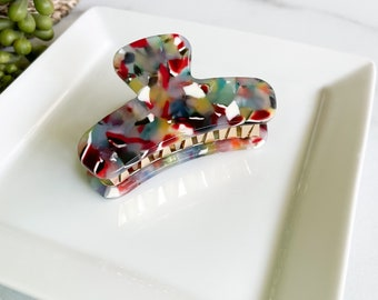 Mini French Hair Claw in Rainbow | Colorful Confetti Multi-Colored Hair Clips Acetate Stainless Steel