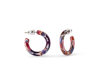 Ultra Mini Hoops in Safari and Petal |Mazzuccheli Italian Acetate With AG Sterling Silver Posts