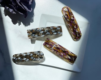 French Barrette in The Terrapin Collection Checkered Tortoise Shell Acetate Hair Clip