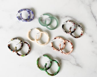 Limited Addition 50mm Round Hoops   Colorful Italian Acetate Hoop Earrings 925 Sterling Silver Posts