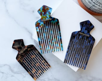 Father's Day Beard Comb Pic Pick Men's Women's Hair Accessory Gift Cellulose Acetate Tortoise Shell Resin Hair Combs