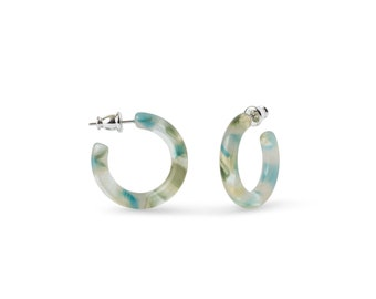 Ultra Mini Hoops in Dew Drop   Small Blue Green Acetate Hoop Earrings 925 Sterling Silver Posts Minimalist Jewelry Gift For Her