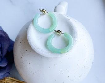 Ultra Mini Hoops in Jadeite   Small Acetate Green Blue Teal Jade Hoop Earrings 925 Silver Posts
