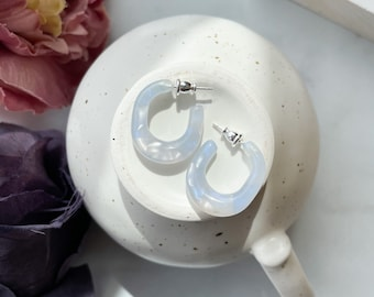 Juicy Hoops in Sky | Light Blue and White Pearl Hoop Earrings Chunky Thick Statement 925 Sterling Silver Posts