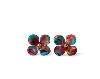 Hydrangea Flower Stud Earrings 14k Gold Posts Nickel Free Floral Studs