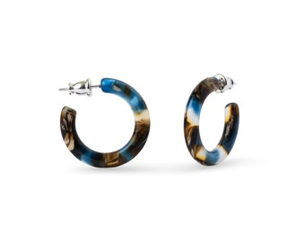 Ultra Mini Hoops in Driftwood   Blue and Brown Acetate Resin Hoop Earrings S925 Silver Posts