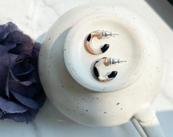 Huggie Hoops in Mosaic | Tiny Small Black and White Pearl Hoop Earrings 925 Sterling Silver Posts