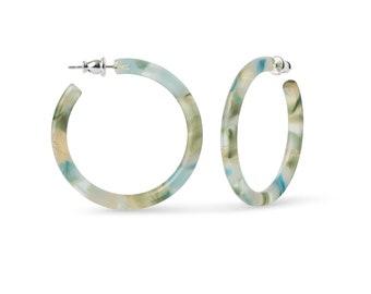 40mm Round Hoops in Dew Drop | Blue Green Gold Shell Hoop Earrings 925 Sterling Silver Posts
