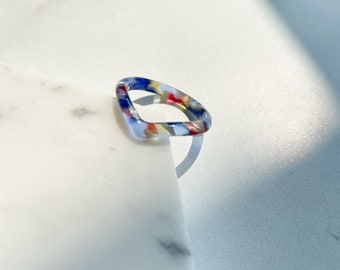 Heart Ring in Stained Glass   Blue Yellow Red Pearl Tortoise Shell Acetate Resin Stacking Rings Minimalist
