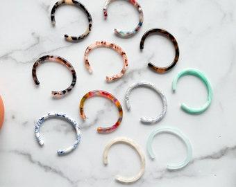 Fenna&Fei Bangle Cuff Tortoise Shell Acetate Stacking Bracelet  Resin Colorful Sizes XS-XL Women Men Gift