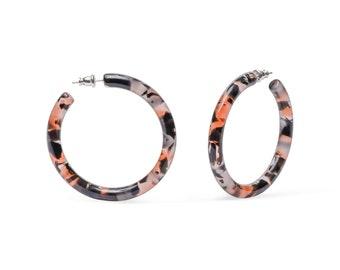 50mm Round Hoops in Koi | Black and Red Resin Acetate Hoop Earrings 925 Sterling Silver Posts