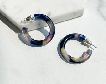Ultra Mini Hoops in The Galaxy Collection  Outer Space Hoop Earrings 925 Sterling Silver Posts