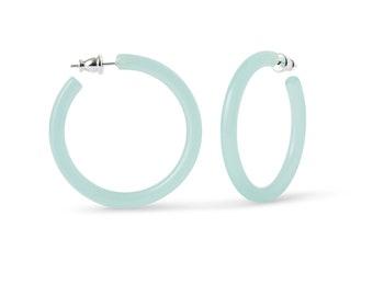 40mm Round Hoops in Jade | Teal Turquoise Light Green Hoop Earrings 925 Sterling Silver Posts