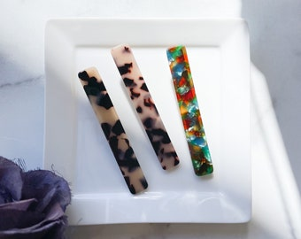 FLASH SALE 3 Pack Long Rectangle Clip Set | Acetate Resin Tortoise Shell Colorful Hair Clips Barrette
