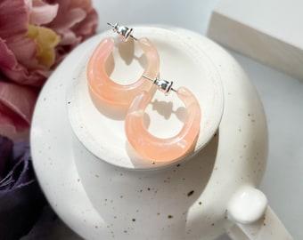 Juicy Hoops in Peach | Light Pink Orange Oval Peach Pearl Hoop Earrings Thick Chunky Acetate 925 Sterling Silver Posts